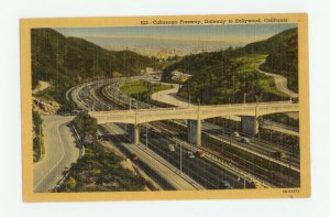 Cahuenga Freeway Hollywood California Linen Postcard