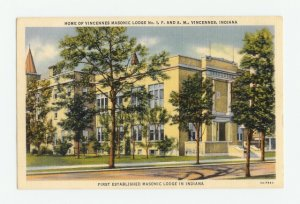 Vincennes Masonic Lodge No. 1 F&AM Indiana Postcard