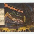 Budweiser Times Square Naturama Linen Postcard