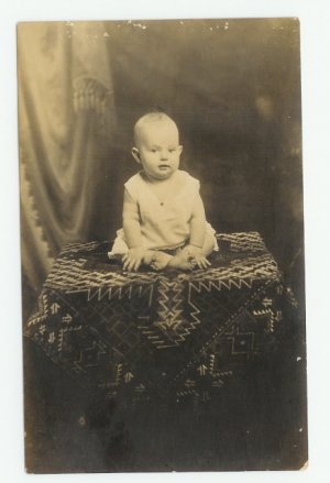 Beautiful Baby on Beautiful Table Cover Photo Postcard