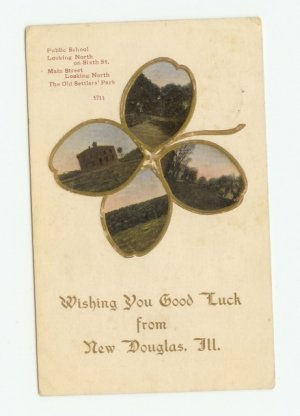 4-Leaf Clover View New Douglas Illinois Postcard 1912