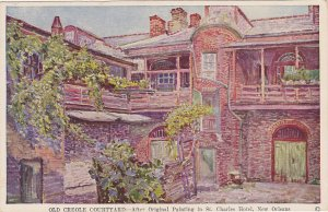 Creole Courtyard From Painting St. Charles New Orleans