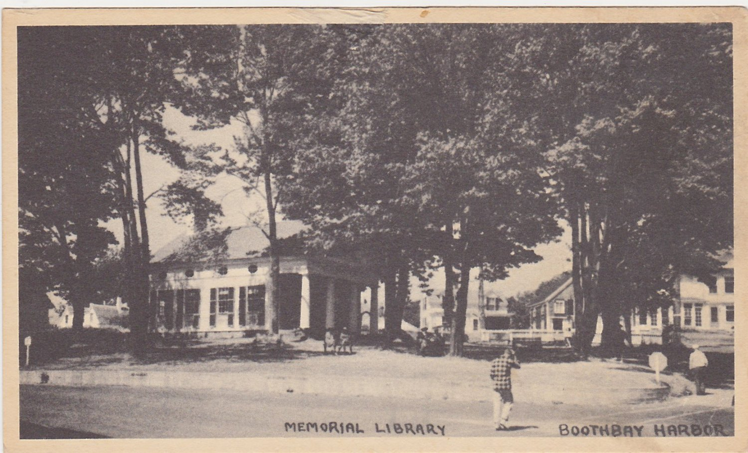 Memorial Library Boothbay Harbor Maine Postcard