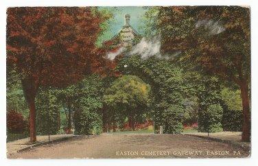Easton Cemetery Gateway Easton Pennsylvania Postcard 1917