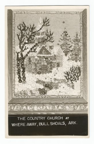 Country Church at Where Away Bull Shoals AR Button Picture Postcard