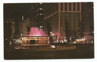 Grand Circus Park Fountain at Night Detroit Michigan Postcard