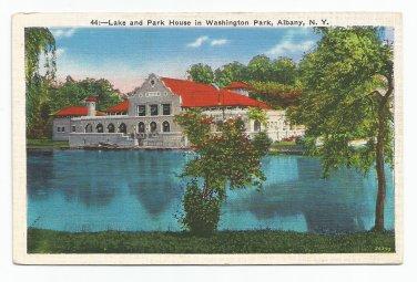 Lake and Park House Washington Park Albany New York Postcard