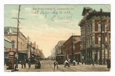 Bay Street Looking East Jacksonville Florida Postcard 1889?