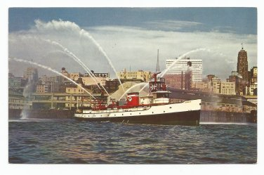 Fire Boat Demonstration Puget Sound Seattle Washington 1950s(?) Postcard