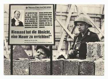 Berlin Wall Construction Worker and Soldier Vintage Postcard