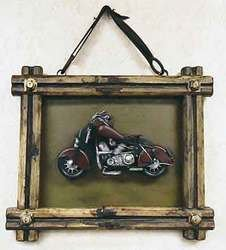 SimpleYears Motorcycle in framed wall hanging  JL164