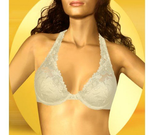 Wonderbra 7515 Bra Extravagance Embroidered Convertible Halter Bra Size 36A Ivory Whisper