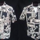 Vintage 70s Mens Black Orange and White Pineapple Batik Print Hawaiian Cotton Shirt - L to XL