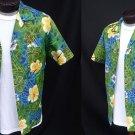Vintage 60s Mens Lauhala Loop Collar Tropical Hibiscus Batik Print Hawaiian Cotton Shirt - M