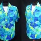Vintage 70s Mens Pomare Hawaii Blue and Green Cotton Barkcloth Aloha Hawaiian Shirt - Size L