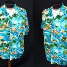 Vintage 60s Mens Jamaica Scenic Pictorial Tiki Print Cold Rayon Aloha Hawaiian Shirt - XXL - 2XL