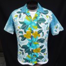 Vintage 50s Mens Reef Border Print Cotton Barkcloth Loop Collar Hawaiian Shirt Metal Buttons M