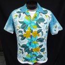 Vintage 50s Mens Reef Border Print Cotton Barkcloth Loop Collar Hawaiian Shirt Metal Buttons M
