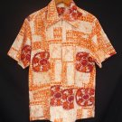 Vintage 60s Mens Lauhala Orange and White Cotton Barkcloth Hawaiian Zip Front Surfer Shirt - M to L