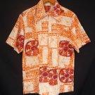 Vintage 60s Mens Lauhala Orange and White Cotton Barkcloth Hawaiian Zip Front Surfer Shirt - M to L
