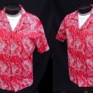 Vintage 70s Mens Red and White Wahine Hula Girl Print VLV Aloha Hawaiian Cotton Shirt - Size L