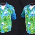 SALE - Vintage 60s Mens Hawaiian Togs Cotton Loop Collar Hawaiian Shirt Metal Buttons - L to XL