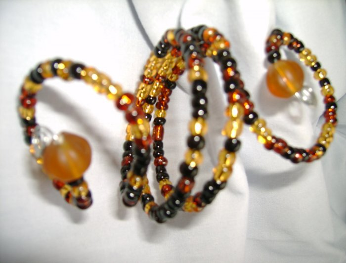 Black, Amber and Gold  Sprial Napkin Rings