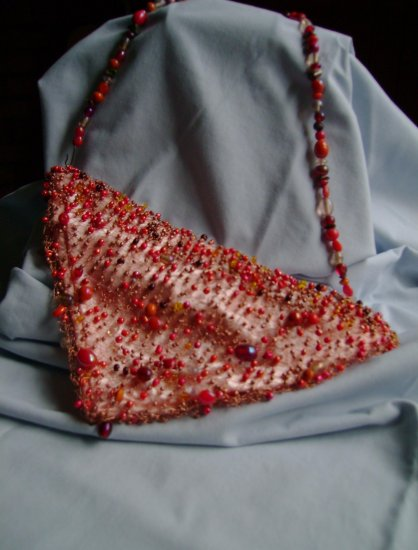 Copper and Orange Knitted WIre Purse