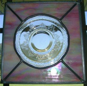 Depression Yellow Salad Plate and Pink Iridized Glass