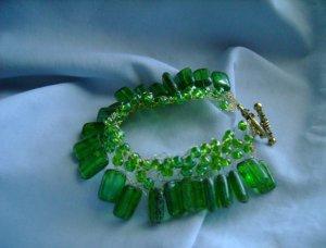 Green, Lacy Fringe Bracelet
