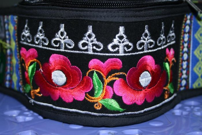 Hand-embroidered Crescent Bag of Chinese Ethnic Minority