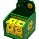 John Deere Wood Block Perpetual Calendar Pen Holder