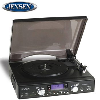 JENSEN® 3-SPEED STEREO TURNTABLE WITH MP3 ENCODING AND AM/FM RADIO!