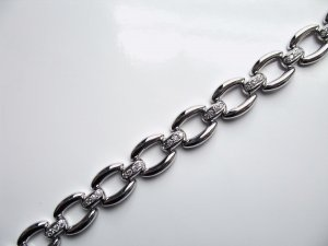 White Gold Bracelet with Diamonds - Chain Design