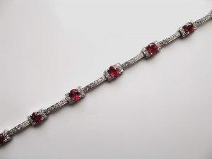 Diamond Bracelet with Rubies