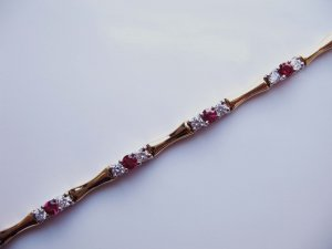 Gold Bracelet with Rubies and Diamonds
