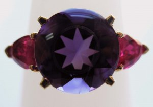 Amethyst Ring with Rubies