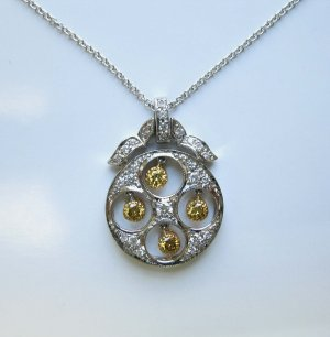Diamond and Yellow Diamond Pendant