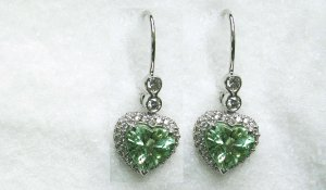 Green Garnet Heart Earrings