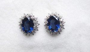 Sapphire Earrings with Diamonds