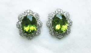 Peridot Earrings with Diamonds