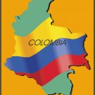 Colombia Country Map Flag Wall Decal