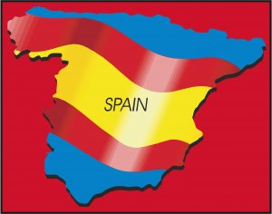 Spain Country Map Flag Wall Decal
