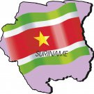 Suriname Country Map Flag Wall Decal