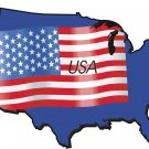 United States Country Map Flag Wall Decal