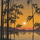Bamboo Lake Sunset Vector Art on Canvas