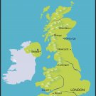 Great Britain Realistic Country Map Wall Decal