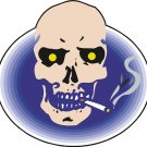Smoking Skull Yellow Eyes Wall Decal