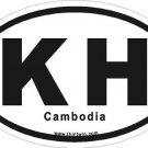 Cambodia Oval Car Sticker