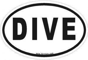 Dive Oval Car Sticker